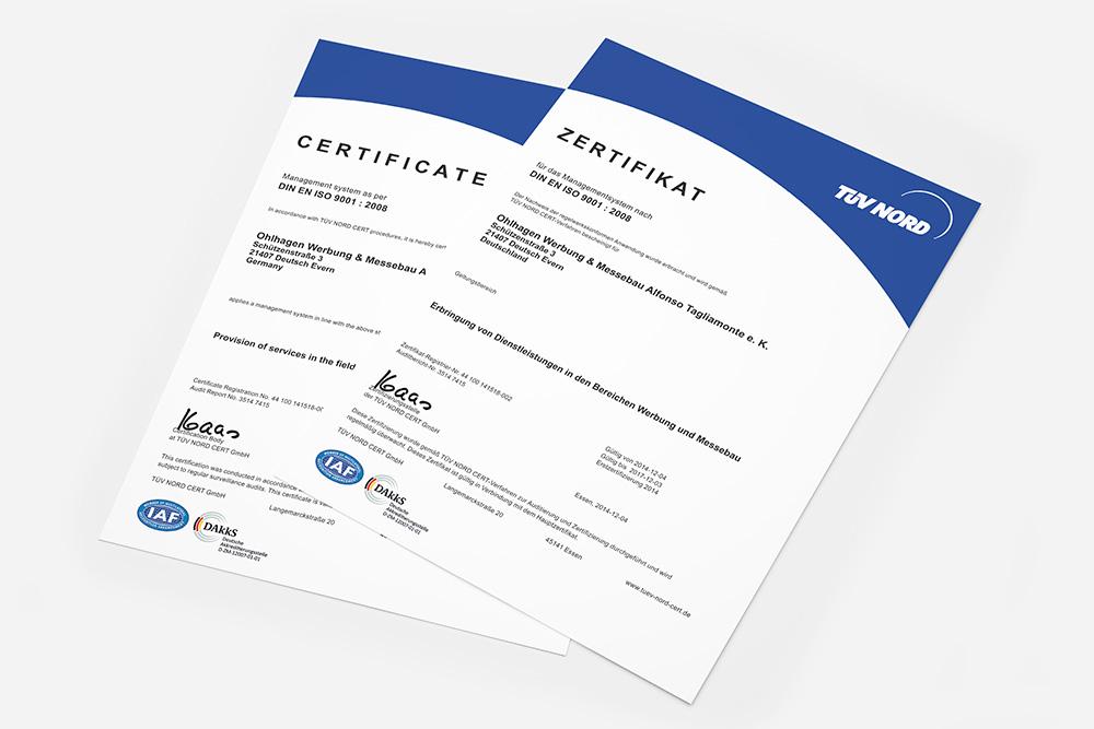 Qualitätsmanagement (ISO 9001) - Ohlhagen Werbung & Messebau, Hier stellen wir Ihnen gern unser ISO 9001 Zertifikat als PDF (Deutsch / Englisch) zum Download zur Verfügung.
